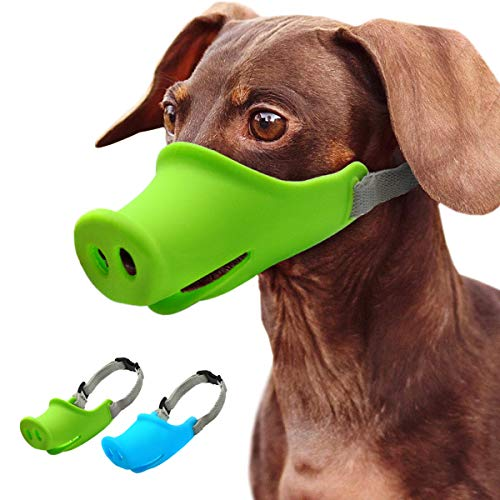 - FML PET Breathable Silicone Pig Mouth Shape Dog Muzzle Adjustable Anti Bite Dog Mask for Biting Chewing Newest Funny Anti Baring Mouth Cover for Small/Medium Dogs