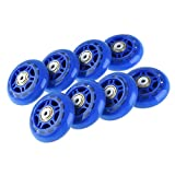 RUNACC Inline Roller Skate Wheels Premium Replacement Rollerblade Wheels with Bearings (Blue- Set of 8)