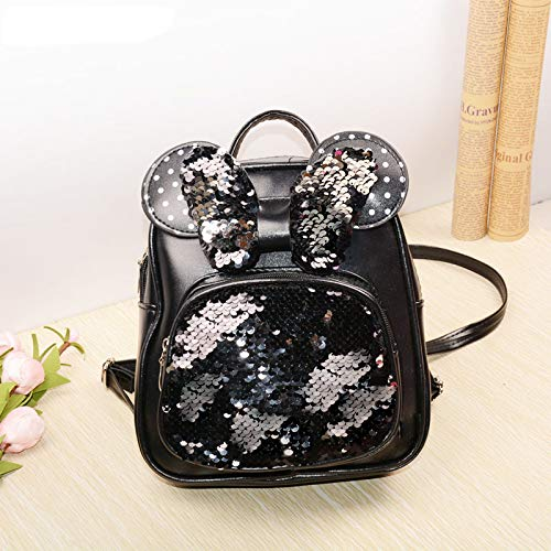 NEW Sequins Backpacks For Teenager Girls PU Shine Bowknot Backpack Glitter Large Girls Travel Shoulder Bags School Bags black -