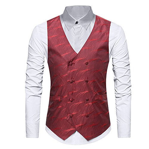 YIMANIE Mens Vintage Suit Vest Double Breasted Slim Fit Shiny Satin Silk Like Dance Prom Gentleman Waistcoat Red (Silk Vintage Coat)