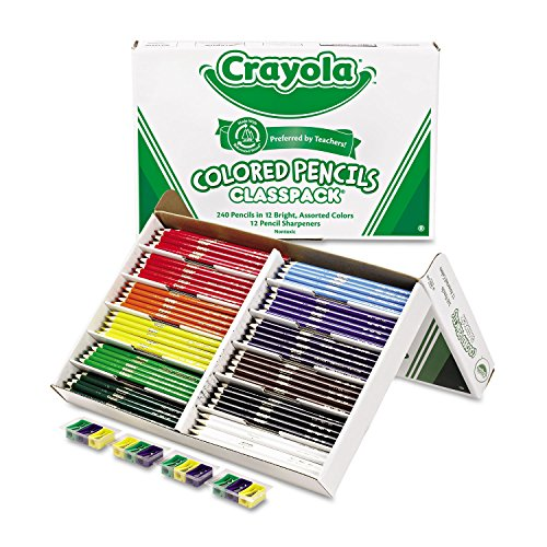 - Crayola 688024 Colored Woodcase Pencil Classpack, 3.3 mm, 12 Assorted Colors/Box