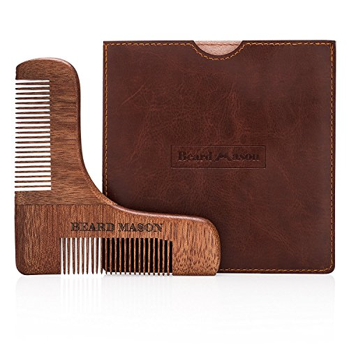 Beard Shaper by Beard Mason | Beard Grooming Beard Shaping Beard Trimmer Edger Beard Shaping Tool Beard Trimmer Shaver Beard Grooming Tools | Red Sandalwood Beard Shaping Template with Two Comb Sizes