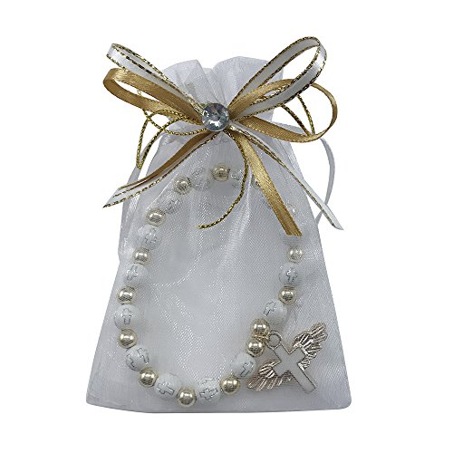 12 Pcs Angel Wing Cross Bracelet with Organza Favor Bags for Boy and Girl - Baptism Favor / Christening Favor by WE (Image #2)