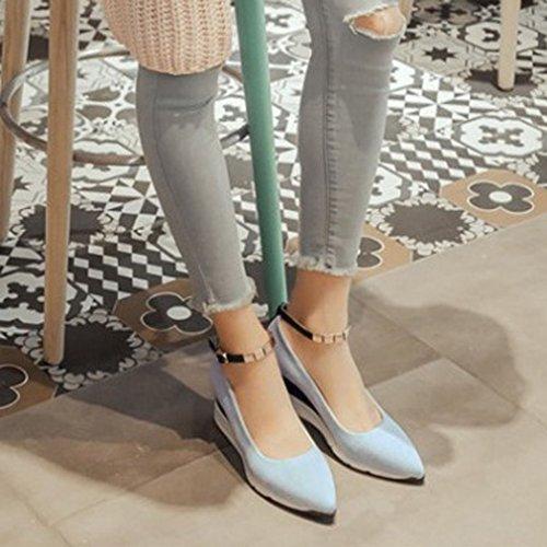 Baja Casuales Boca Cuña Hebilla de Retro Zapatos 36 Xianshu Azul Mujeres Acentuados la qvwgg8p1