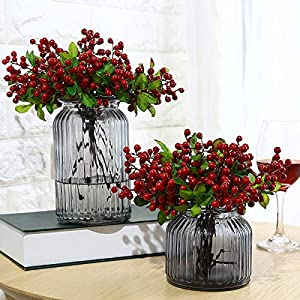 10 Pcs Plastic Artificial Flowers California Berries Blueberry Fruit Fake Silk Flowers for Christmas Home Decorative Party Wedding 1