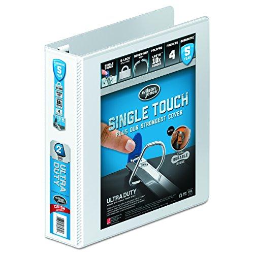 - Wilson Jones Line Premium Single Touch Locking D-Ring 2 Inch Capacity 8 1/2 x 11 Inch White View Binder (W86620PP1)