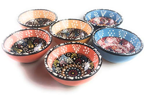 Painted Porcelain Vintage Hand - Ceramic Bowls, Assorted Design Multicolor Set Varieties, Handmade Hand Painted Turkish Bowls, 3
