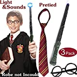 Harry Potter Gryffindor Tie,Wizard Glasses,Harry Potter Wand Set Light Sound Halloween Costume Accessories