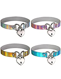 FM42 Multicolor Hologram PU Heart Lock Key Charm Choker Collar Necklace Set, 4PCs PN1554