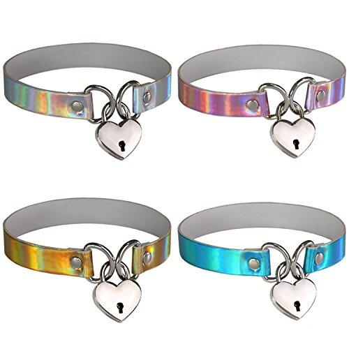 FM FM42 Multicolor Hologram PU Heart Lock Key Charm Choker Collar Necklace Set, 4PCs PN1554