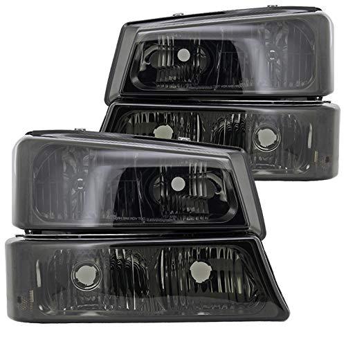 Spec-D Tuning LBLH-SIV03G-RS Chevy Silverado Avalanche Crystal Smoke Tint Headlights+Bumper Lamps