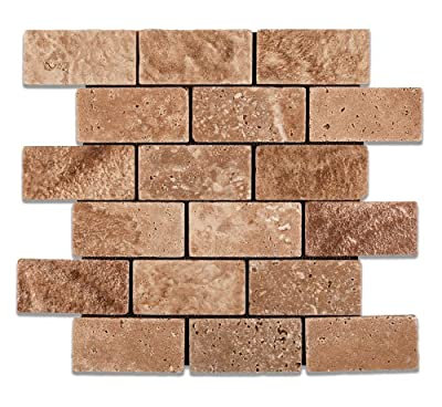Andean Walnut Peruvian Travertine 2 X 4 Tumbled Brick Mosaic Tile by Oracle Tile & Stone