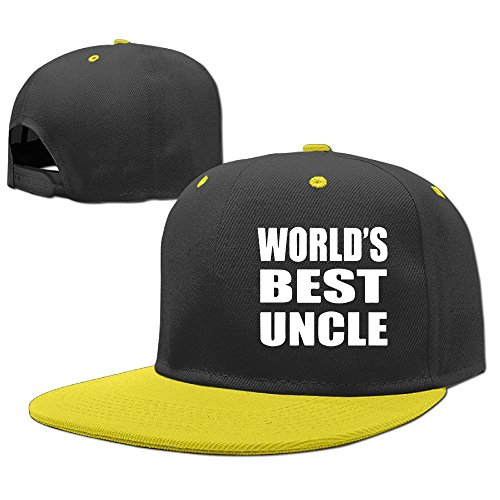 (Woonmo Children's Hip Hop Baseball Cap World's Best Uncle Kid's Cute Cool Fitted Cap with Adjustable Snapback Hip Hop Hat Yellow)
