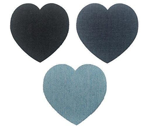 6 Coderas rodilleras corazones vaqueros termoadhesivas aplique para chaquetas, camisas, cazadoras, pantalones, jerseys, americanas, nuevo look y reparacion de ropa en 10 segundos de OPEN BUY