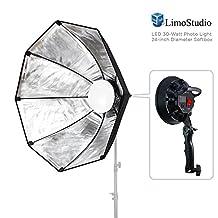 LimoStudio 144 LED Photo Light 30 Watt & 24 inch Diameter Octangle Softbox Outside Black Inside Silver, Lighting with Handle Bar & Grip, Tripod Mountable, Continuous Light Kit, Photo Studio, AGG2018