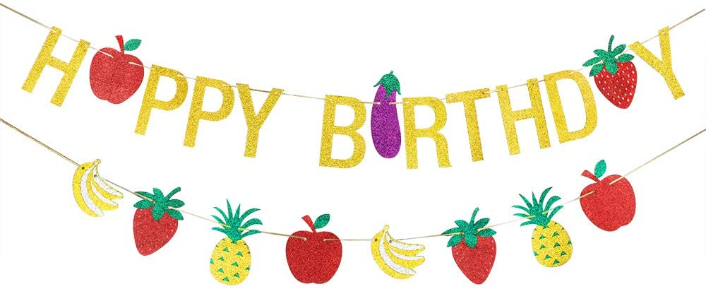 Fruit Happy Birthday Sign Banner, Hawaiian Theme, Birthday Party Decor Decoration Supplies, Pineapple/Strawberry/Apple/Banana/Fruit Banner,Luau Tropic - Gold Glitter