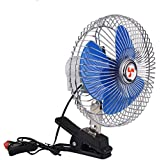 8 Inch Portable Auto Car Oscillating Fan , 12v Fans Cooling Air Fan with Clip Cigarette Lighter Plug