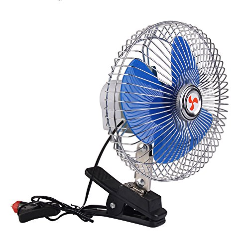 (BestUS 8 Inch Portable Auto Car Oscillating Fan, 12v Fans Cooling Air Fan with Clip Cigarette Lighter Plug)