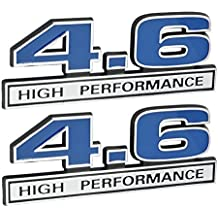 "4.6 Liter High Performance Engine Emblems in Chrome & Blue - 5"" Long Pair"