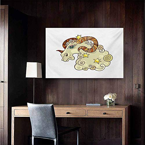 (duommhome Zodiac Aries Simulation Oil Painting Cartoon Comic Style Ram Animal Fluffy Funny Cosmic Character with Yellow Stars Decorative Painted Sofa Background Wall 35