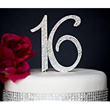 Sweet 16 Cake Topper   Premium Sparkly Crystal Diamond Rhinestones   16th Birthday Party Decoration Ideas   Quality Metal Alloy   Perfect Keepsake (16 Silver)