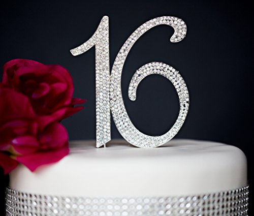 Sweet 16 Cake Topper | Premium Sparkly Crystal Diamond Rhinestones | 16th Birthday Party Decoration Ideas | Quality Metal Alloy | Perfect Keepsake (16 (Sparkly Sweet)