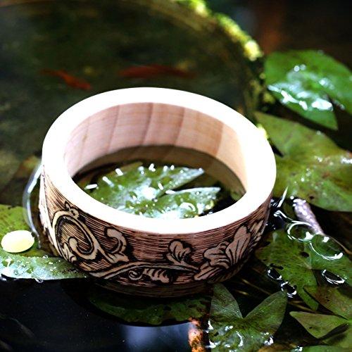 - HAND WOODEN Bracelets Cabbage Flowers Size 7.5cm - Unisex Wooden Handmade Bangles No. 005 Size 7.5cm