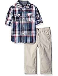 Tommy Hilfiger Baby Boys' Roll Up Sleeves Shirt with Twill Pants Set