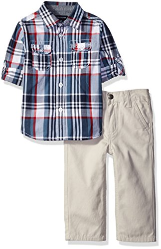 Tommy Hilfiger Baby Boys' Roll Up Sleeves Shirt with Twill Pants Set, Blue Plaid, 12 Months