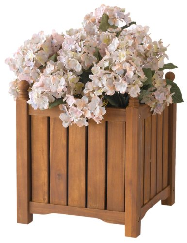 DMC Products 70304 14-Inch Lexington Square Solid Wood Planter, Teak Oil from DMC Products