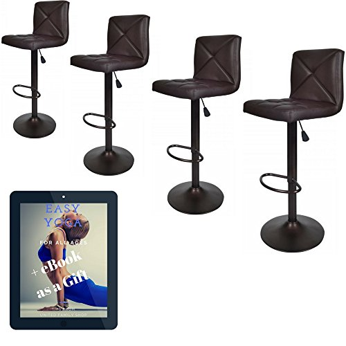 United Family Shop Vintage Bar Stools With Back Set of 4 Brown PU Leather 24 Inch to 32 Inch | Modern 360 Degree Adunited Ajustable Swivel Seat Barstools Hydraulic Chair (Classic Diner Chair)