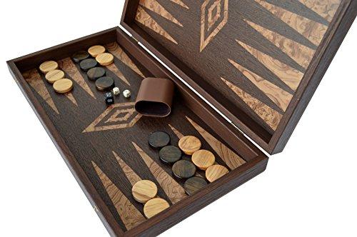 Manopoulos Traditional Wenge - Walnut wood Backgammon Set - Olive wood Chips