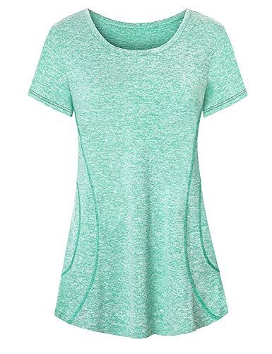 Viracy Short Sleeve Tunics for Women, Juniors Activewear Tops Prime Volleyball Running Shirt Classic Elegant Basic Tee Exercise Boxing Stretchy Fitness Undershirt Zumba Class Vibrant Lines Green 2XL