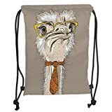 Custom Printed Drawstring Sack Backpacks Bags,Indie,Sketch Portrait of Funny Modern Ostrich Bird with Yellow Eyeglasses and Tie,Taupe Beige YellowSoft Satin,5 Liter Capacity,Adjustable String Closure