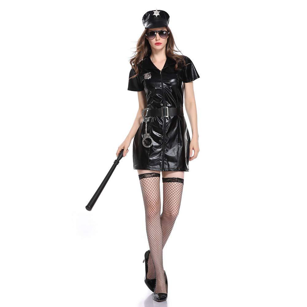 OLKWG Policía Sexy Traje De Dama De Policía Juego De rol De Carnaval De Halloween Fiesta del Tema Disfraz De Uniforme De Policía Tentación