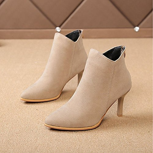 Beige US5.5   EU36   UK3.5   CN35 Beige US5.5   EU36   UK3.5   CN35 HSXZ Women's shoes Nubuck Leather PU Winter Fall Comfort Fashion Boots Boots Stiletto Heel Pointed Toe Booties Ankle Boots for Casual Beige