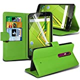 ONX3® ( Green ) Motorola Moto X Play Case Custom Made BookStyle PU Leather Wallet Flip With Credit / Debit Card Slot Case Skin Cover With LCD Screen Protector Guard, Polishing Cloth & Mini Retractable Stylus Pen