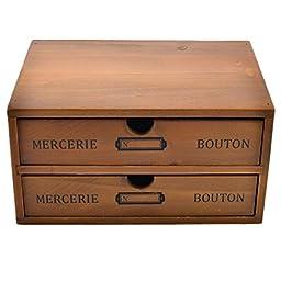 Storage Chest Box, Yamix Household Essentials 2-Drawer Wooden Storage Chest Box Office Desktop Organizer New Zealand Pine