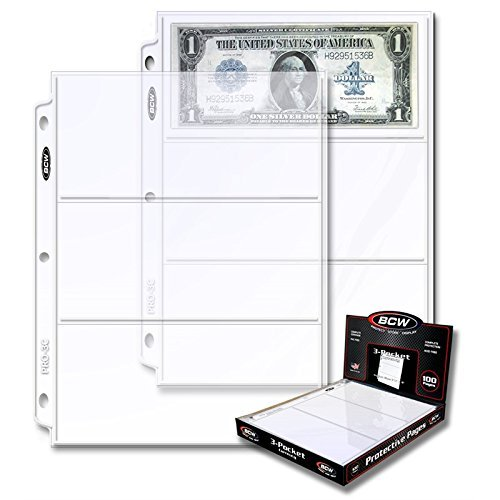 20 (Twenty Pages) – BCW Pro 3-Pocket Currency Storage Page – Dollar Bill & Currency Collecting Supplies 2-Pack
