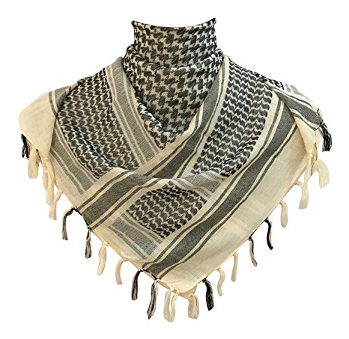 G-Shark Premium Military Shemagh Tactical Desert Keffiyeh 100% Cotton Head Neck Scarf Wrap (Tan) (Shemagh Wear Desert)