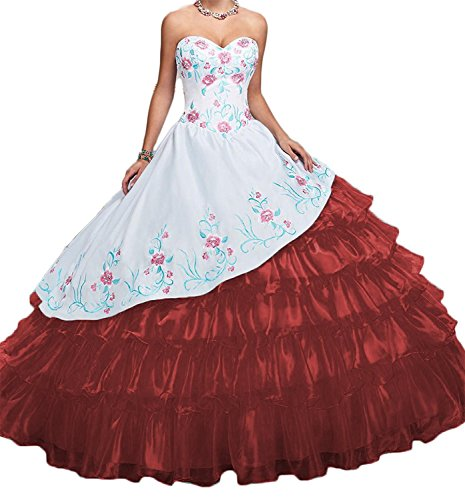 HeleneBridal Women's A-Line Sweetheart Embroidery Quinceanera Dresses Long Prom Party Ball Gowns With Jacket - Embroidery Party Prom Jacket