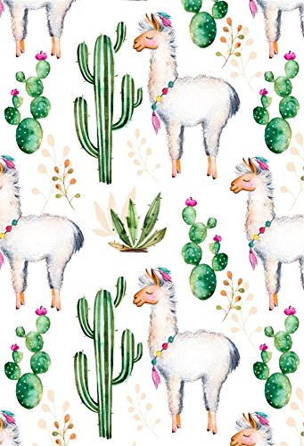 LFEEY 6x9ft Beautiful Lama Cactus Backdrop Desert Floral Cacti Plants and Alpaca Pattern Wallpaper Background Kids Adults Birthday Party Events Photography Background Photo Studio Props