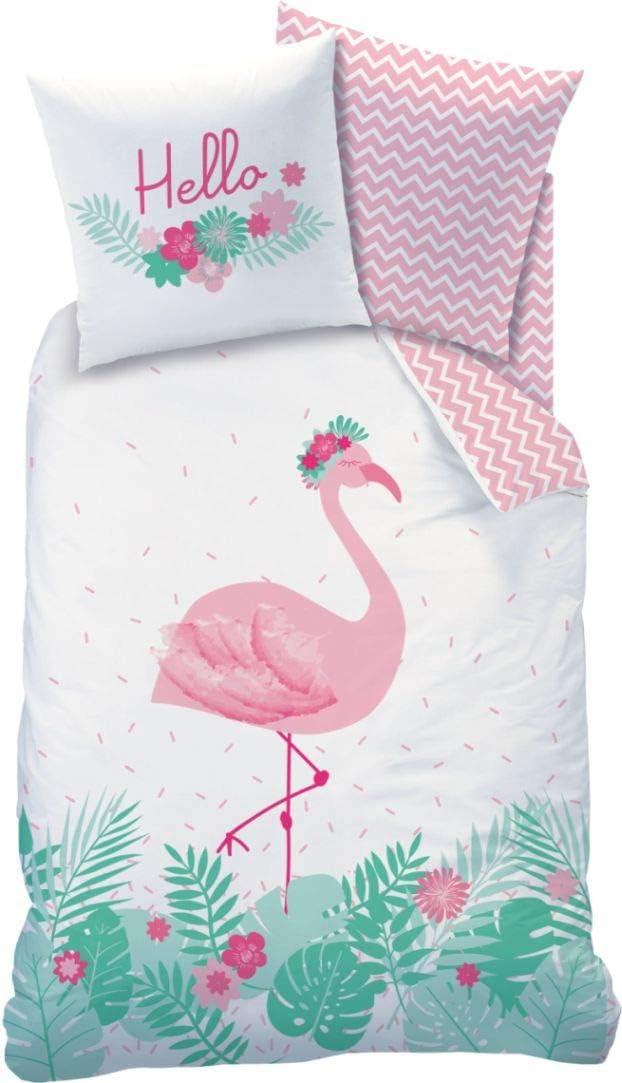 CTI Flamingo - Juego de cama (franela, funda de almohada de 80 x 80 cm, funda nórdica de 135 x 200 cm, 100% algodón), diseño de flamencos, color rosa turquesa