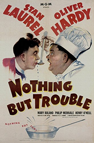 "Nothing But Irritate, Stan Laurel, Oliver Hardy, Mary Boland, Philip Merivale, 1944 - Premium Movie Poster Reprint 28"" by 42"" Unframed"