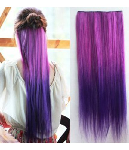 Amazon uniwigs ombre dip dye color clip in extension 60cm amazon uniwigs ombre dip dye color clip in extension 60cm length rose red to dark purple straight texture for dreamlike girls tbe0008 real hair clip pmusecretfo Images