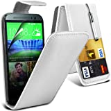 Fone-Case ( White ) HTC One M8S Case Brand New Luxury PU Leather Flip With Credit / Debit Card Slot Case Skin Cover With LCD Screen Protector Guard, Polishing Cloth & Mini Retractable Stylus Pen