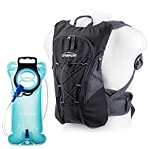 Overmont hiking backpack for containing a hydrating bladder 2.5 liters backpack cyclist(total capacity 10 L) for outdoor sports long voyage climbing in open air(Orange) with 2L TPU HydrationBladder