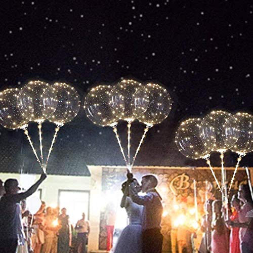 LED Balloon Lights, Elevin(TM) 3pcs Reusable Luminous Led Balloon Transparent Round Bubble Decoration Party Wedding