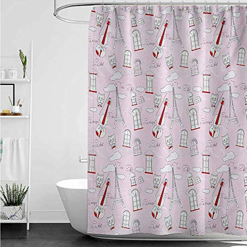 (home1love Waterproof Bathtub Curtain,Paris Abstract City Image Violin Cat with Bow Tie Eiffel Tower Illustration,Shower Curtain bar,W47x63L,Pale Pink Scarlet White)