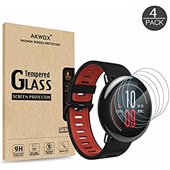 (4-Pack) Tempered Glass Screen Protector for Xiaomi Amazfit, Akwox [0.3